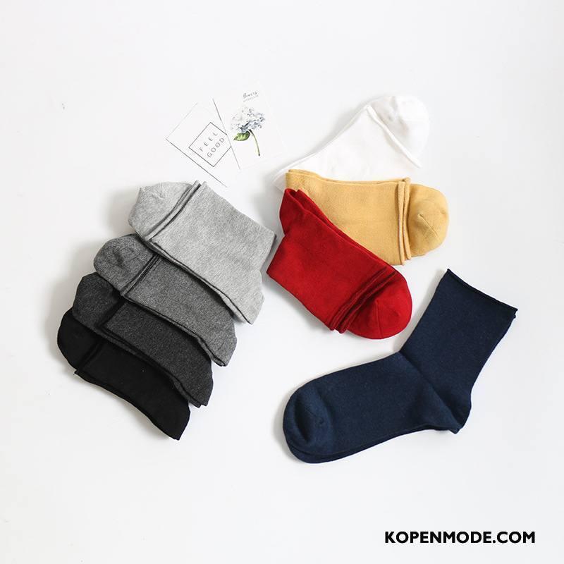 Sokken Heren Ademend Midden Winter Mannen Van Katoen Eenvoudig Marineblauw