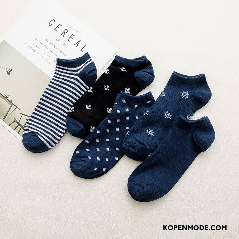 Sokken Heren Bloemen Mannen 100% Katoen Korte Sok Nieuw Zomer Blauw