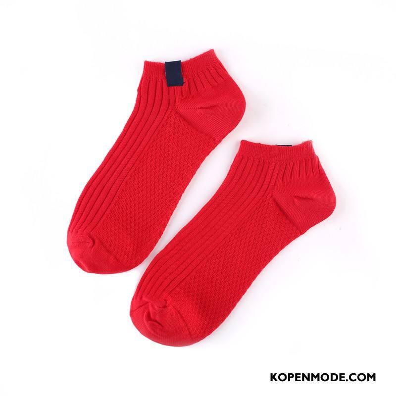 Sokken Heren Laag 100% Katoen Vintage Scheppend Boot Sokken Mannen Effen Kleur Rood Licht