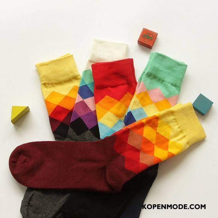 Sokken Heren Lange Geruit Midden Sport Mannen Kleurverloop Kleur Rood