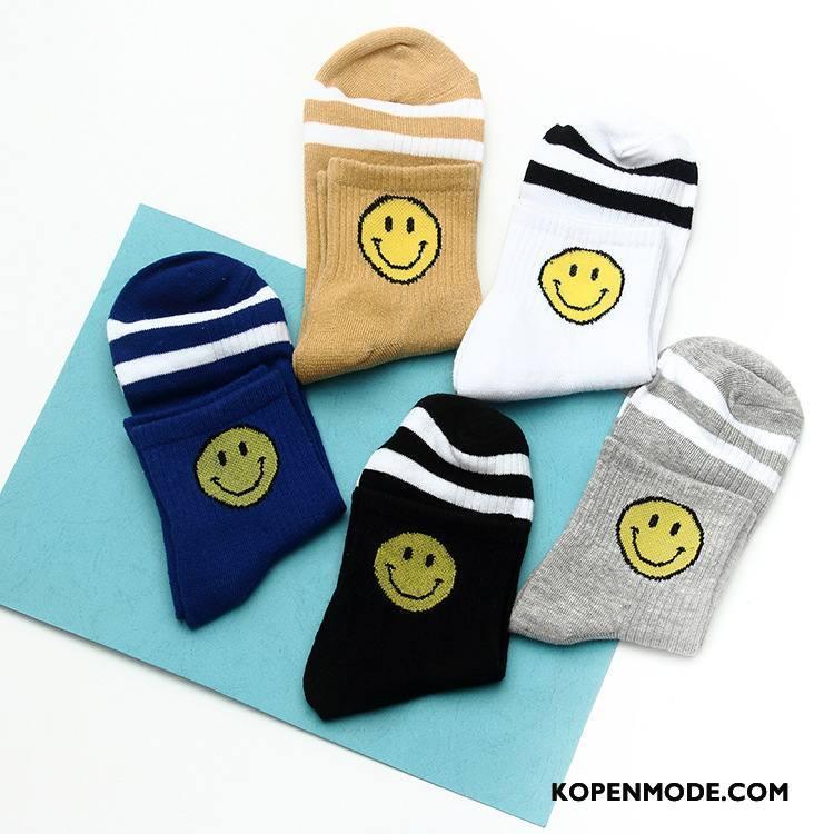 Sokken Heren Mannen Voorjaar 100% Katoen Smiley Midden Vrouwen Wit