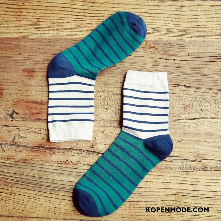Sokken Heren Midden Casual Winter Streep Herfst Mannen Kleur Gemengde Kleuren Groen