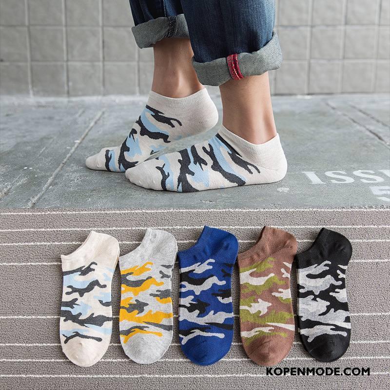 Sokken Heren Nieuw 100% Katoen Trend Korte Sok Mannen Boot Sokken Camouflage Wit Licht