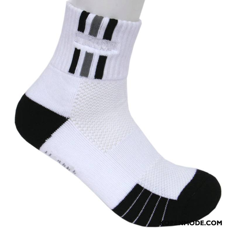 Sokken Heren Van Katoen Korte Sok Sport Verdikken Handdoek Boot Sokken Wit