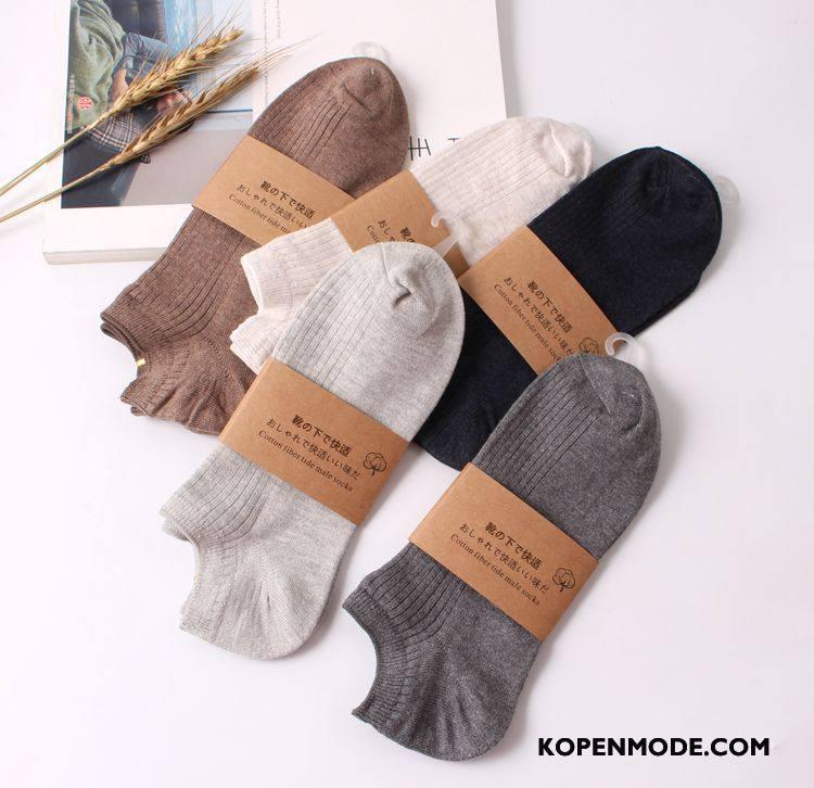 Sokken Heren Vintage Mannen Korte Sok Boot Sokken 100% Katoen Van Katoen Grijs