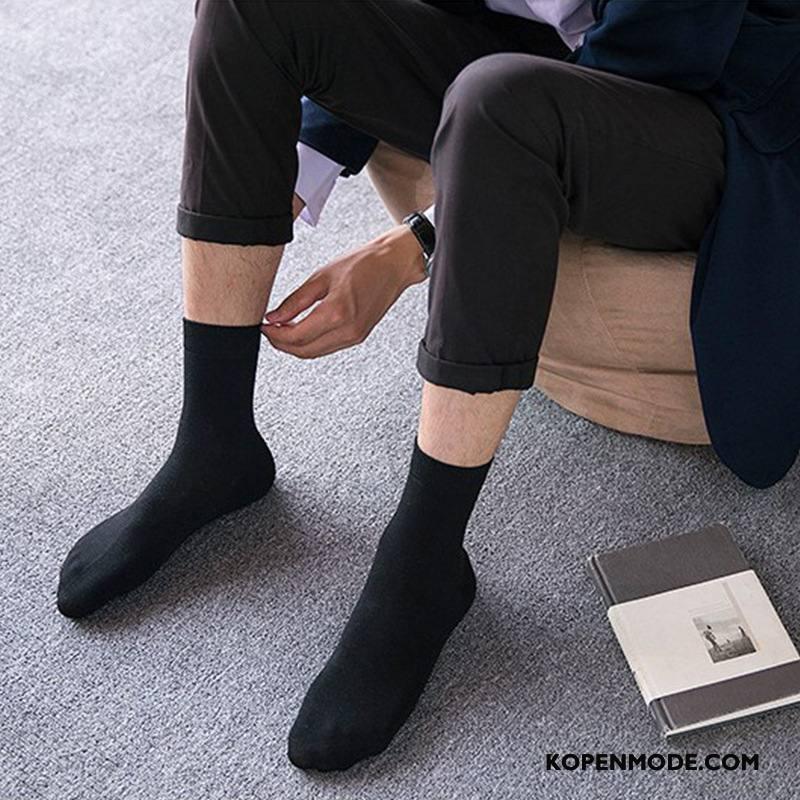 Sokken Heren Winter Mannen Herfst Sport Van Katoen Midden Effen Kleur Zwart