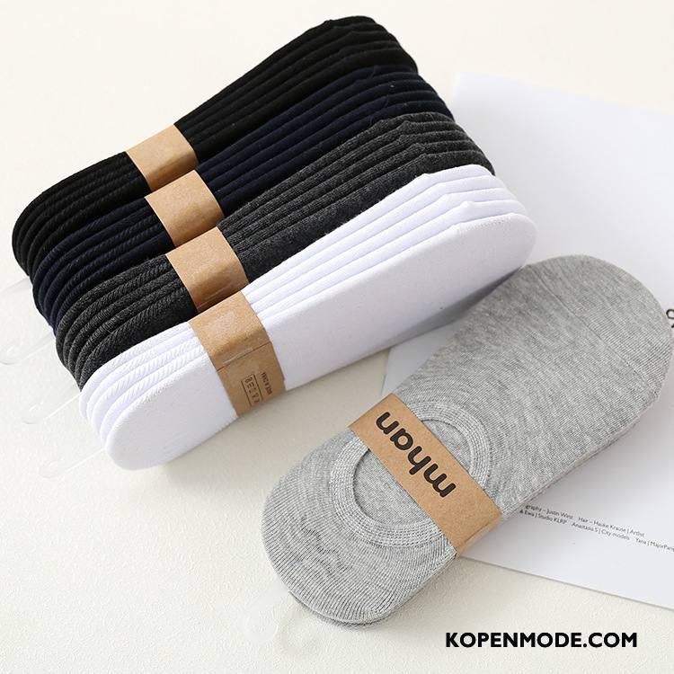 Sokken Heren Zomer Heimelijkheid Silicone Antislip 100% Katoen Boot Sokken Zwart