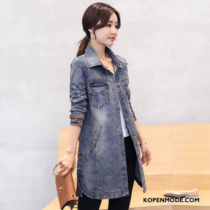 Spijkerjas Dames Slim Fit Mode Trend 2018 Dunne Lang Blauw