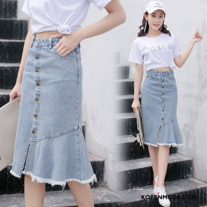 Spijkerjurken Dames Mode Rok Letter Elegante Casual Zomer Blauw