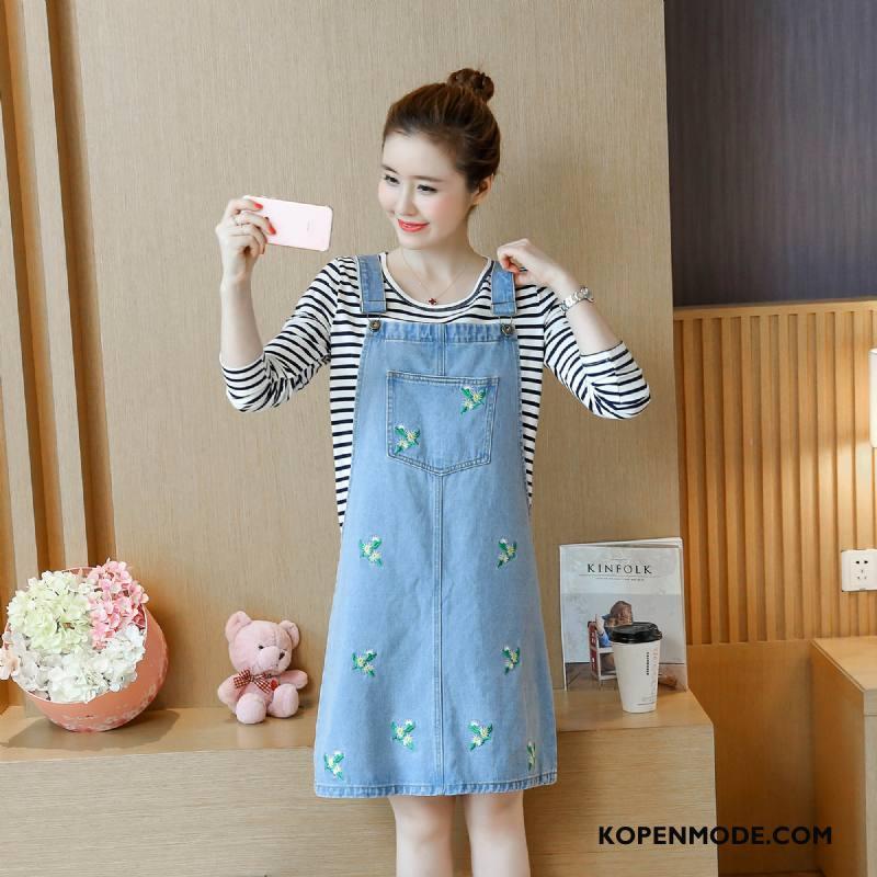 Spijkerjurken Dames Zomer Bretels Elegante Mode Trend Bloemen Blauw