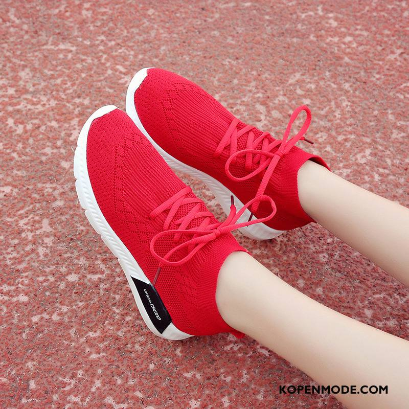 Sportschoenen Dames 2018 Sokken Plat Trend Elastiek Casual Rood
