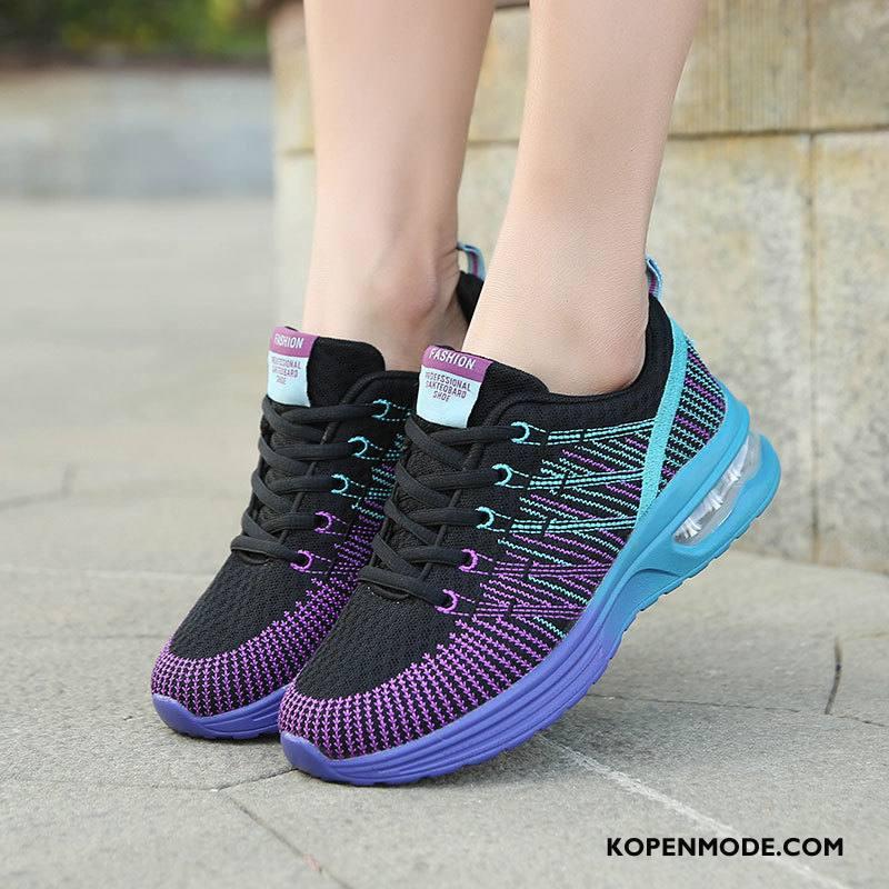 Sportschoenen Dames Gebreide Hete Verkoop Luchtkussen Zachte Zolen Voorjaar Casual Zwart