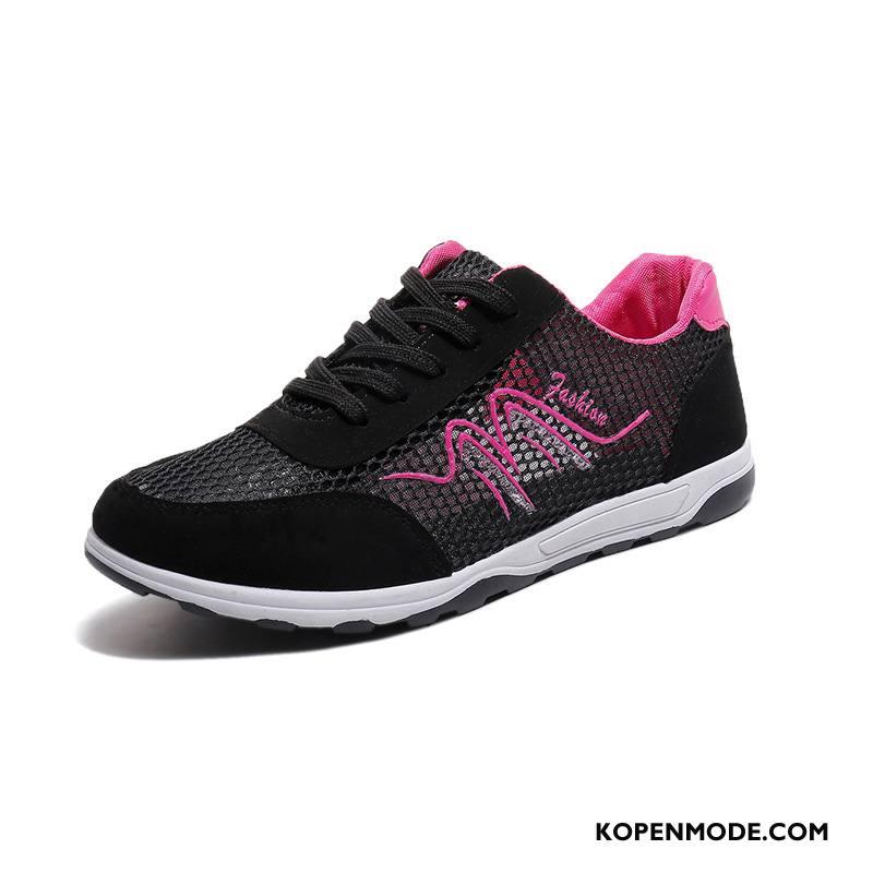 Sportschoenen Dames Tiener Plat Ademende Lichte Vrouwen Running Zwart