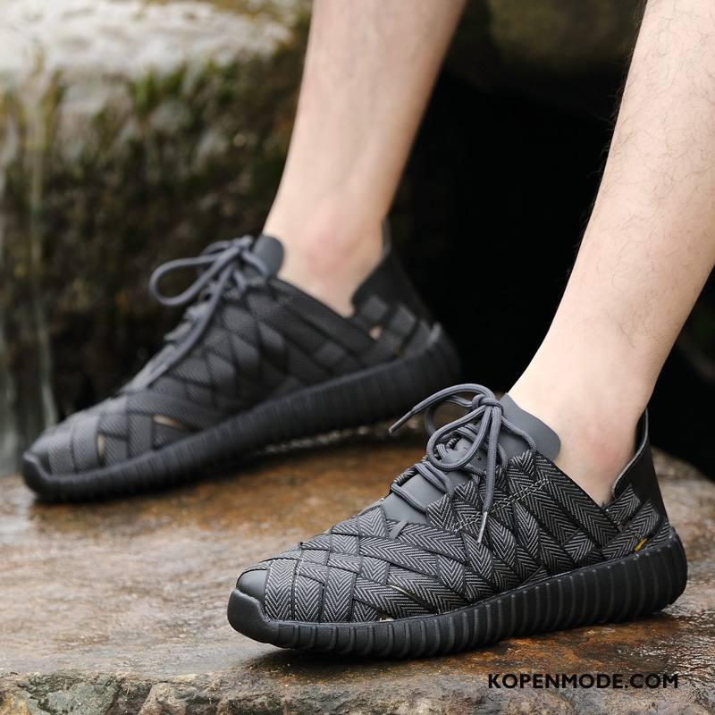 Sportschoenen Heren Mannen Zomer Outdoor Mode Gebreide Lovers Zwart