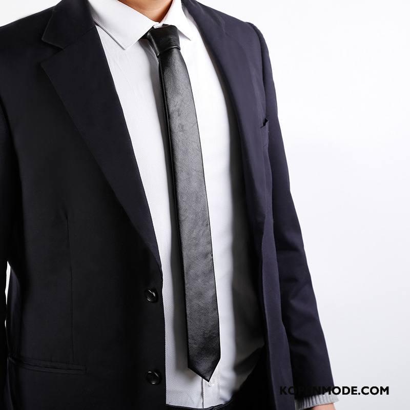 Stropdassen Heren Accessoires Smal Mode Persoonlijkheid Business Mannen Effen Kleur Zwart