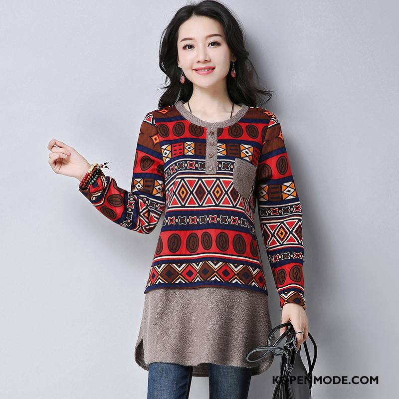 T-shirts Dames 2018 Mode Casual Lange Mouwen Elegante Ronde Hals Rood