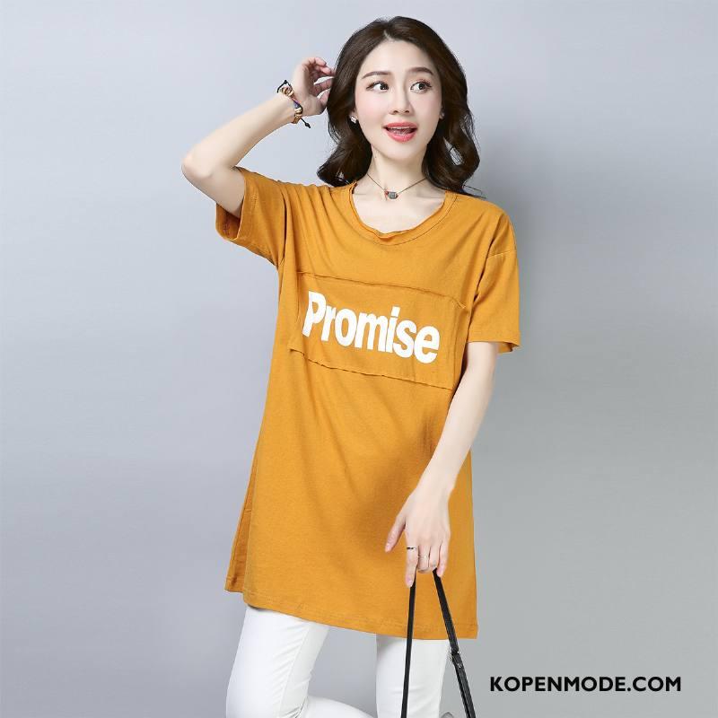 T-shirts Dames 2018 Pullover Korte Mouw Zomer Slim Fit Elegante Geel