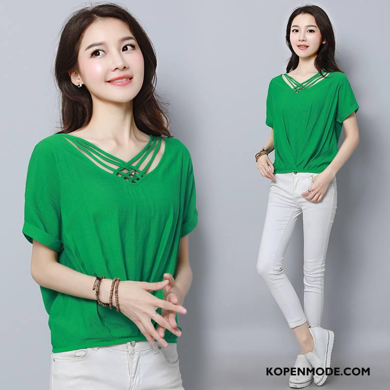 T-shirts Dames Casual Nieuw Dunne Elegante Slim Fit Trend Effen Kleur Groen