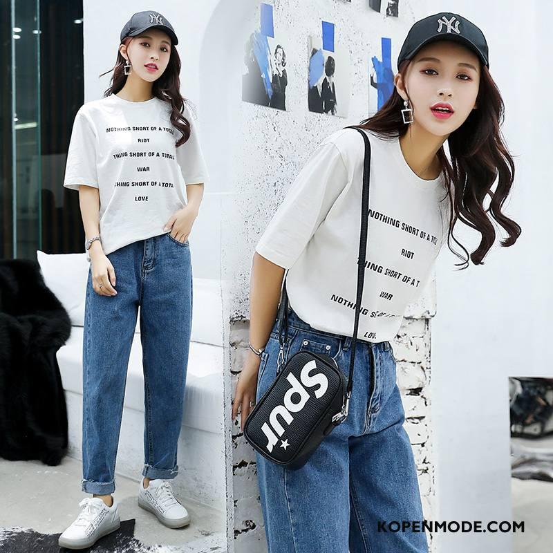 T-shirts Dames Dunne Voorjaar Eenvoudige Vers Slim Fit Trend Wit