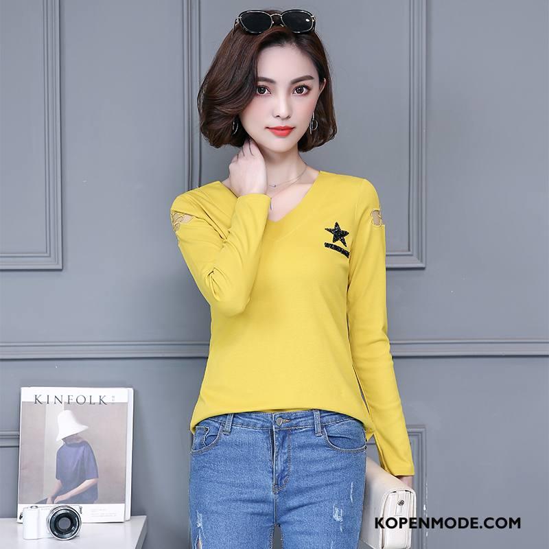T-shirts Dames Dunne Voorjaar Lange Mouwen Elegante Kort Mooi Geel