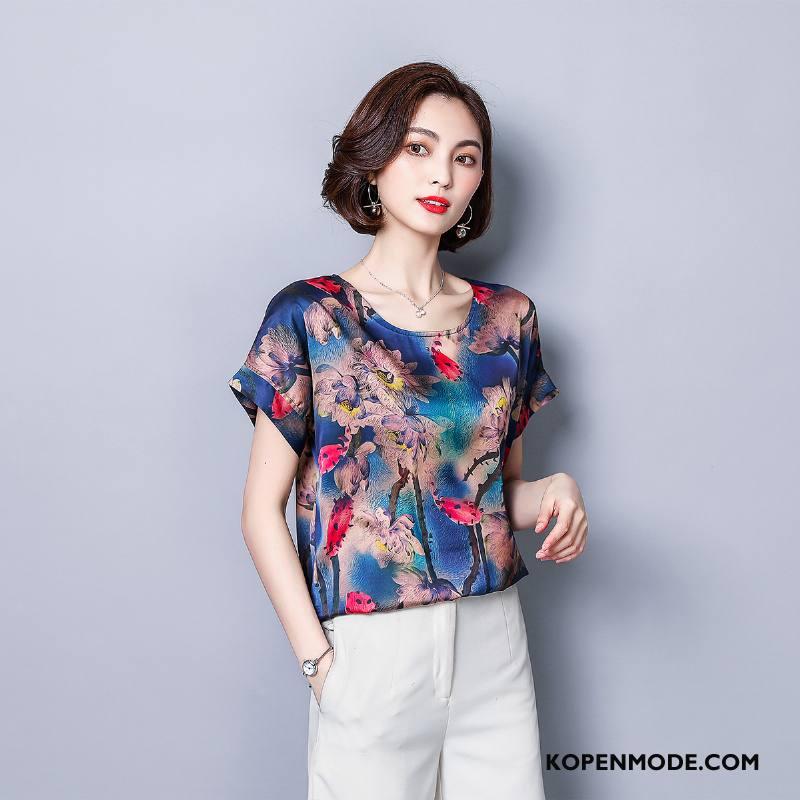 T-shirts Dames Eenvoudige Rechtdoor Zomer Slim Fit Comfortabele Elegante Blauw
