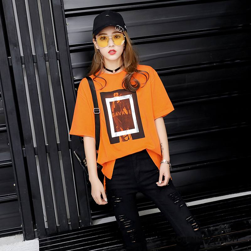 T-shirts Dames Elegante Zomer Zoet Korte Mouw Mode 2018 Oranje
