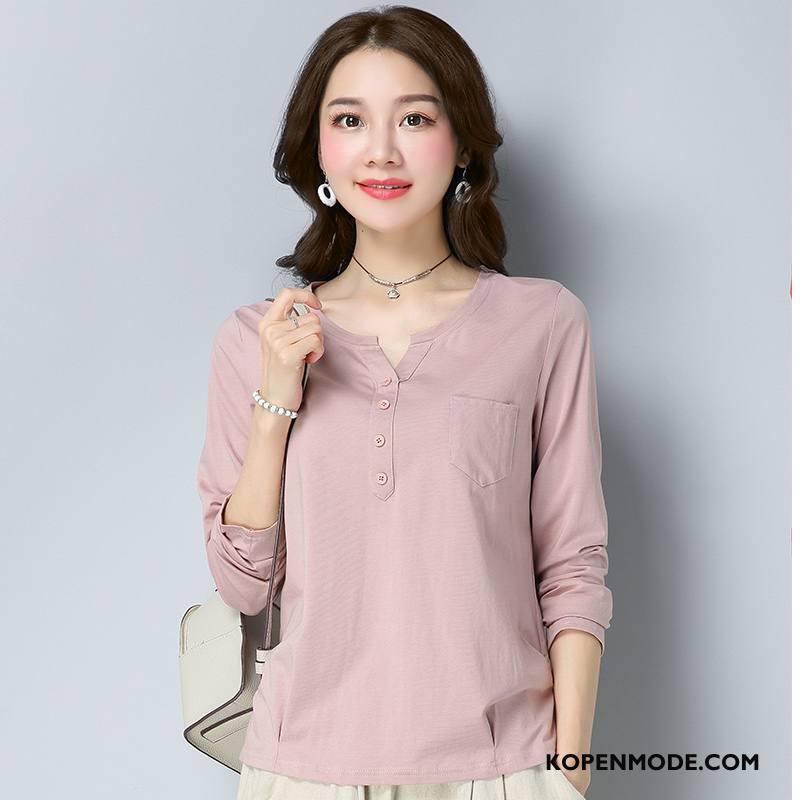 T-shirts Dames Herfst Lange Mouwen Populair Jeugd Trend Stad Effen Kleur Roze