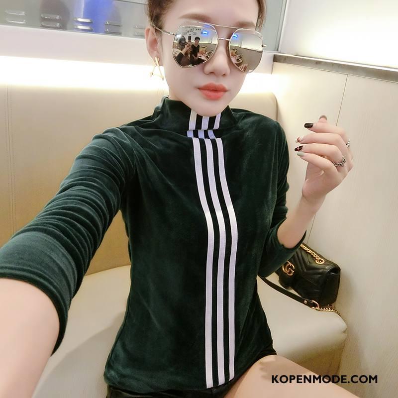 T-shirts Dames Hoge Kraag 2018 Mooi Slim Fit Elegante Zoet Groen