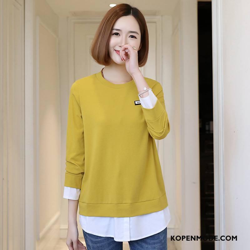 T-shirts Dames Mode Casual Losse Trend Elegante 2018 Effen Kleur Geel