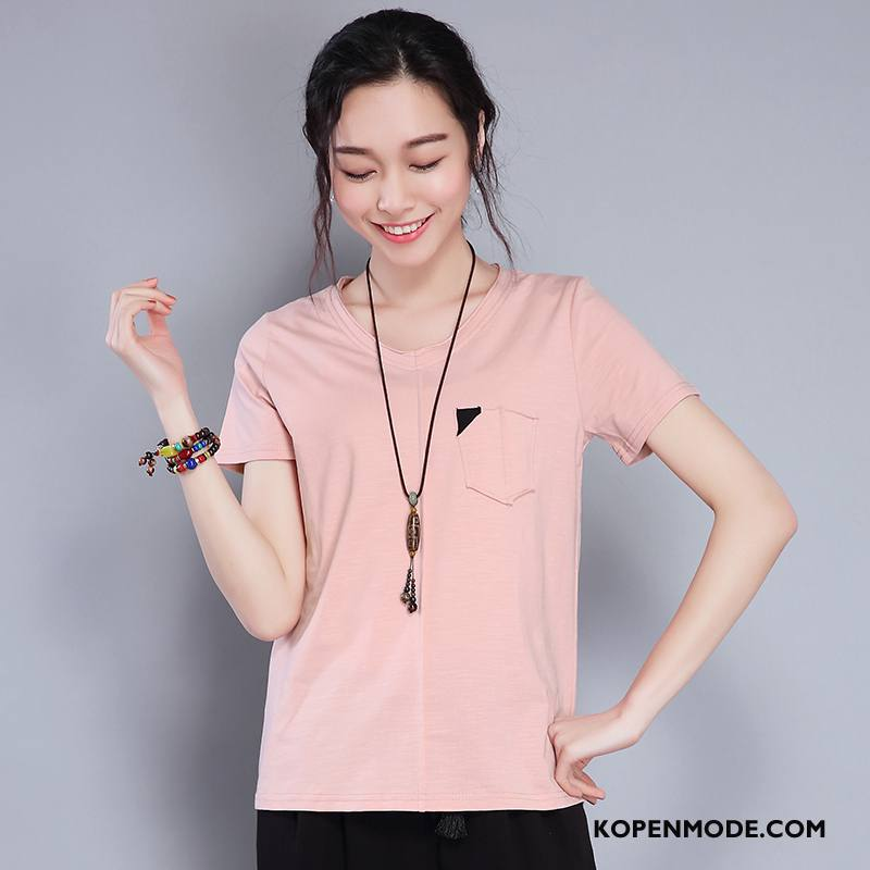 T-shirts Dames Slim Fit 2018 Dunne Voorjaar Elegante Trend Roze Rood