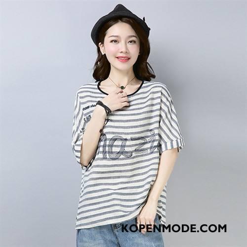 T-shirts Dames Trend Dunne Eenvoudige Mode Letter Slim Fit Grijs