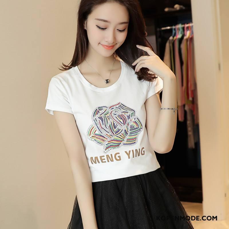 T-shirts Dames Trend Elegante Korte Mouw Ronde Hals Slim Fit Zomer Wit