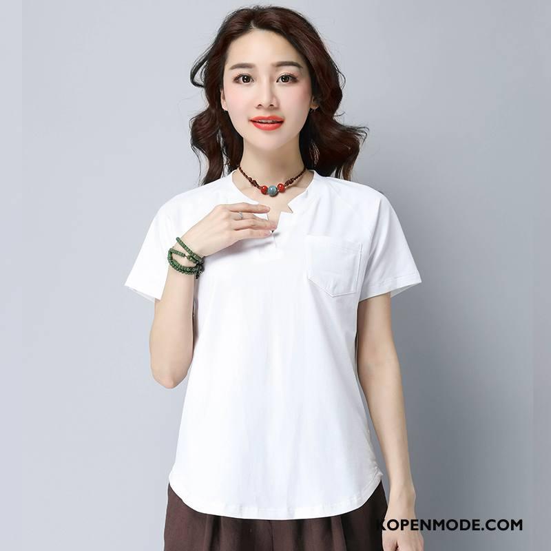 T-shirts Dames Zoet Mode 2018 Ronde Hals Zomer Korte Mouw Effen Kleur Wit