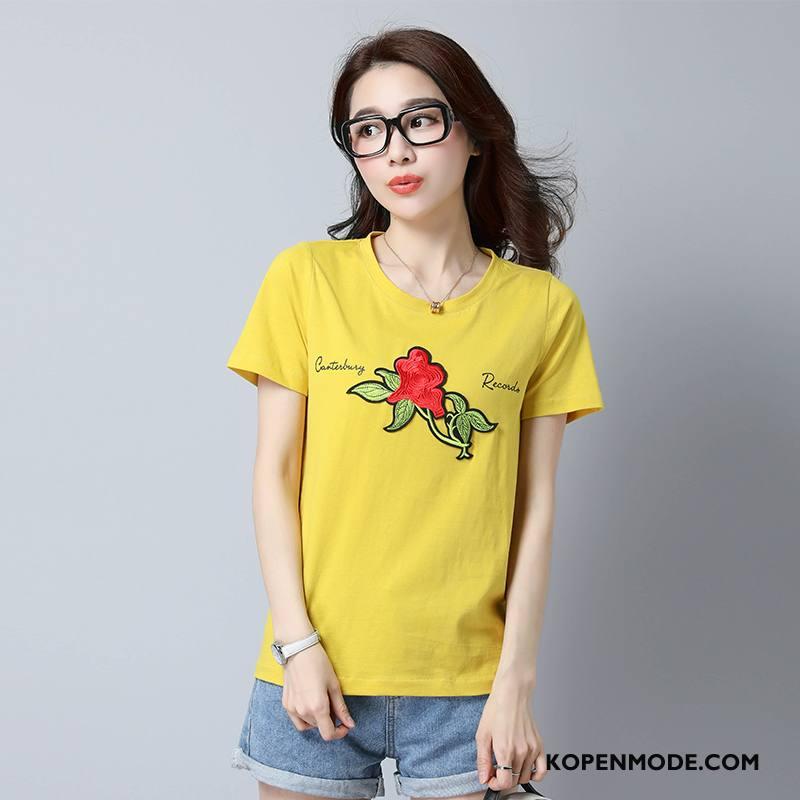 T-shirts Dames Zomer Mode Ronde Hals Bedrukken Rechtdoor Patroon Roze Geel