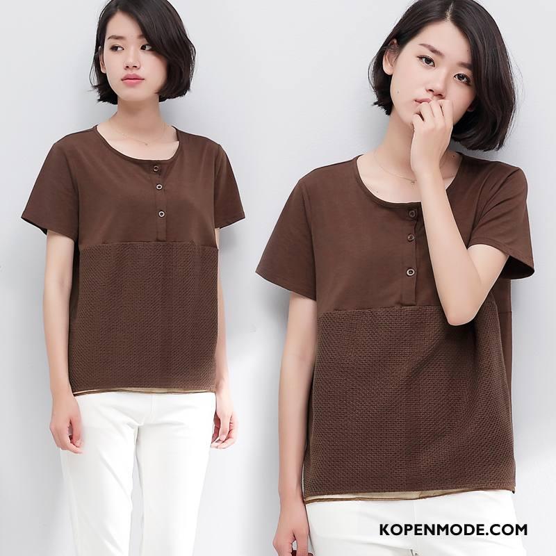T-shirts Dames Zomer Zoet Kort Trend Elegante Mode Bruine