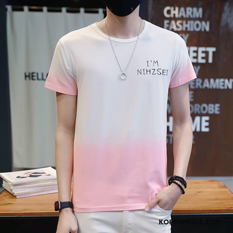 T-shirts Heren 2018 Mooi Ronde Hals Onderhemd Korte Mouw Mannen Kleurverloop Roze