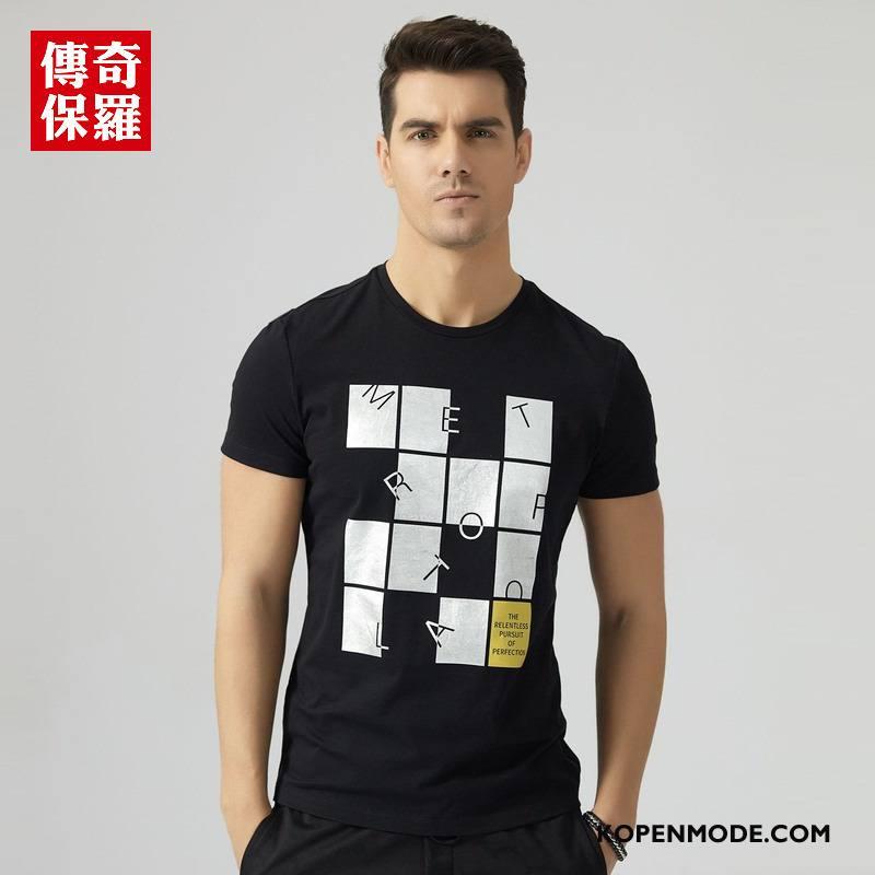 T-shirts Heren 2018 Zomer Trend Mannen Bedrukken Ronde Hals Zwart