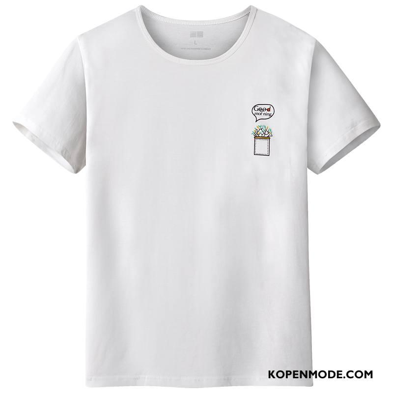 T-shirts Heren Casual Slim Fit Onderhemd Ronde Hals Zomer Trend Wit