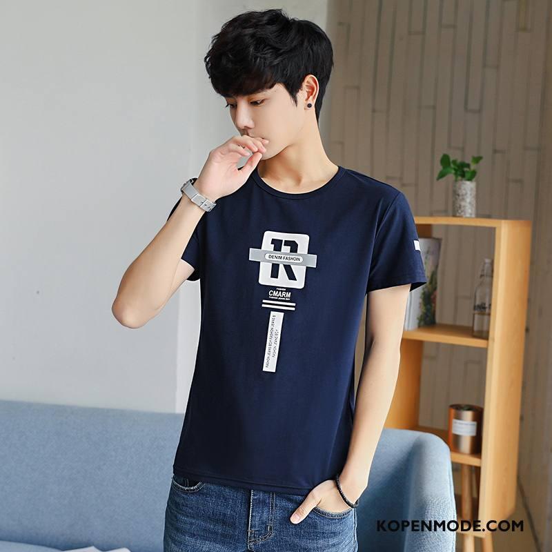 T-shirts Heren Casual Zomer 2018 Kort Slim Fit Persoonlijk Donkerblauw
