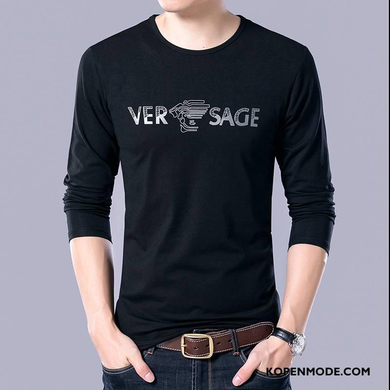 T-shirts Heren Dunne Grote Maten Ronde Hals Losse Onderhemd Katoen Zwart