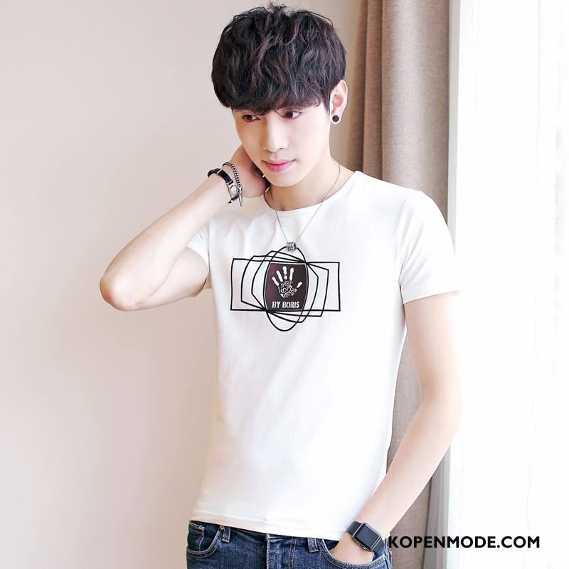 T-shirts Heren Jeugd Jasje Casual Mannen Katoen Trend Wit