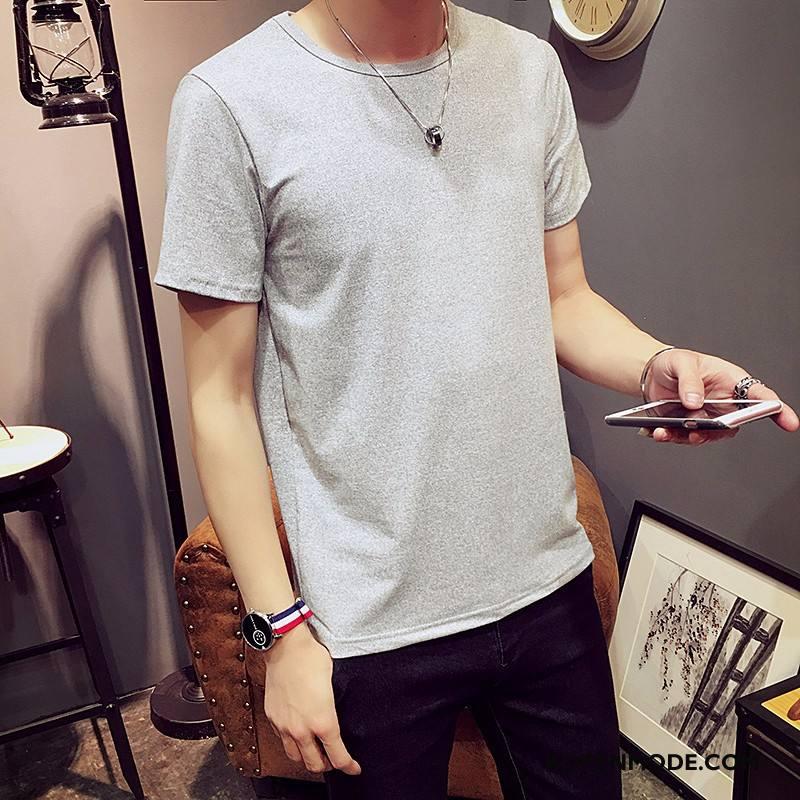 T-shirts Heren Korte Mouw Jasje Zomer Trend Halve Mouw Onderhemd Effen Kleur Wit Zwart Grijs