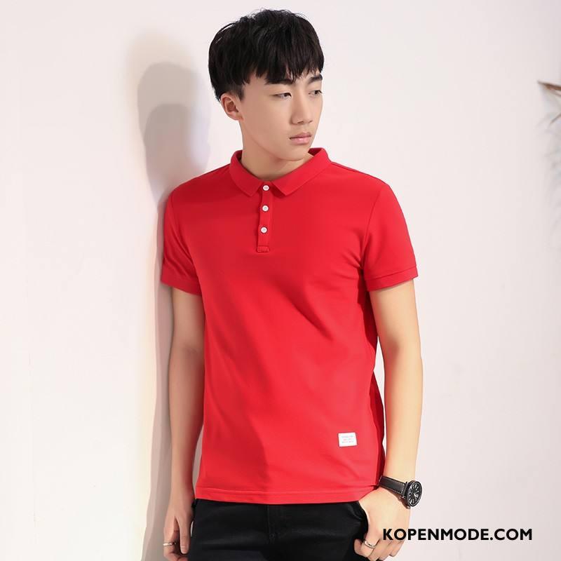 T-shirts Heren Korte Mouw Trend Hemdkraag Slim Fit Polo Effen Kleur Rood