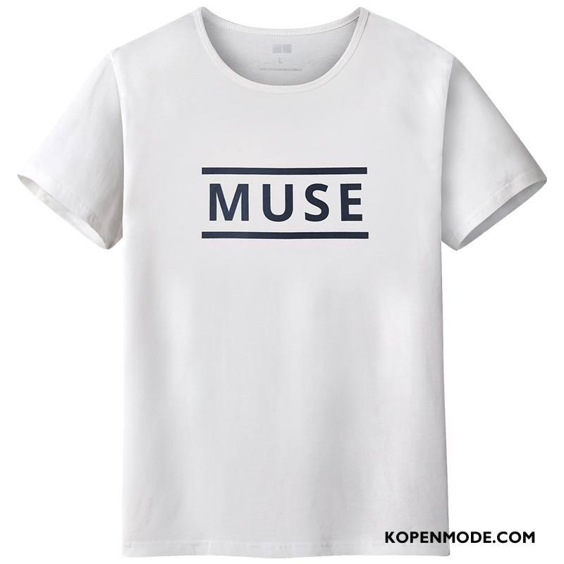 T-shirts Heren Korte Mouw Zomer Halve Mouw Mannen Bedrukken Eenvoudige Wit