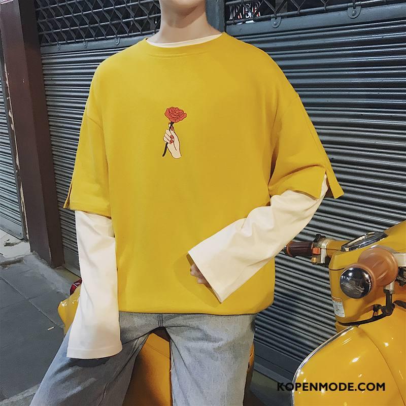 T-shirts Heren Lange Mouwen Losse Slim Fit Trend Herfst Student Geel