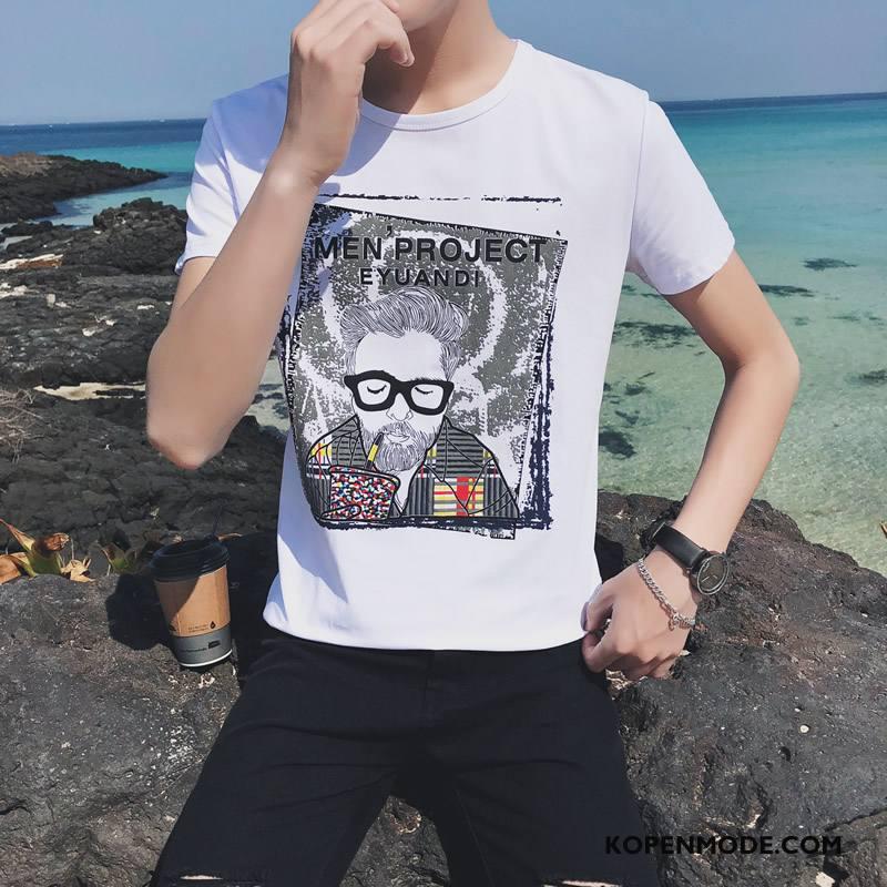 T-shirts Heren Mannen Katoen Breien Nieuw Wit