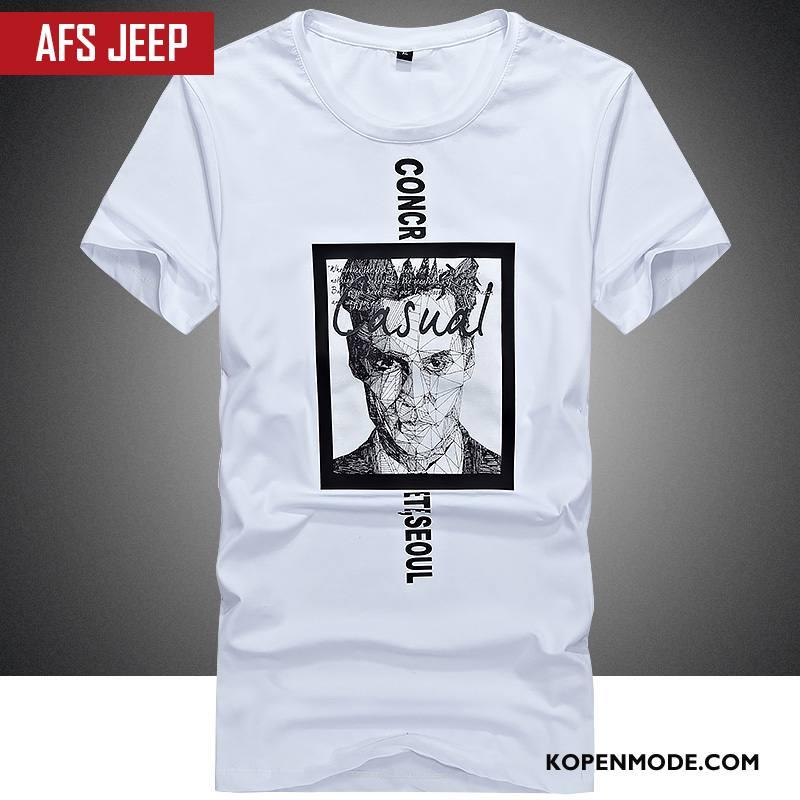 T-shirts Heren Mannen Mode Bedrukken Katoen Zomer Korte Mouw Wit