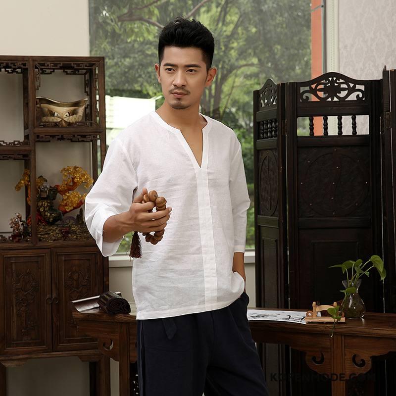 T-shirts Heren Mannen Mouw Korte Mouw Vintage Chinese Stijl Jasje Wit
