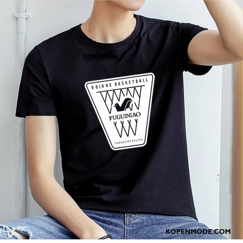 T-shirts Heren Mannen Vogel Winkel Zwart