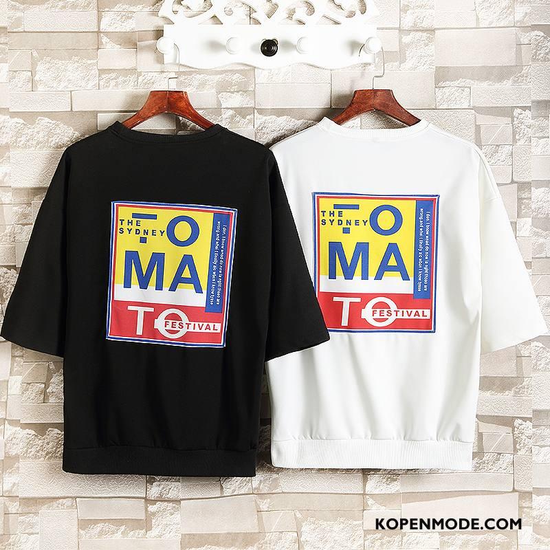 T-shirts Heren Mode Losse Ronde Hals Zomer Trend Nieuw Zwart